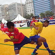 The Brazilian Men's team winning the Men's Homeless World Cup Final defeating Brazil 6-0. Sixty-four national homeless teams took part in the International football tournament staged on Copacabana beach. Rio de Janeiro. The Brazilian Women made it a clean sweep for Brazil defeating Mexico 7-3 in the Women's World Cup Final. The Homeless World Cup aims at beating homelessness through football and brings awareness to the one billion people who are homeless in the world today. Rio de Janeiro,  Brazil. 26th September 2010. Photo Tim Clayton.