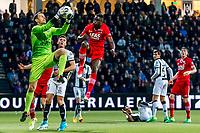 ALMELO - 14-04-2017, Heracles  Almelo - AZ, AFAS Stadion, 1-2, Heracles Almelo keeper Bram Castro, AZ speler Derrick Luckassen