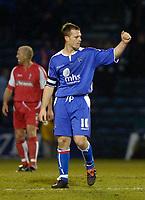 Photo: Alan Crowhurst.<br />Gillingham v Swindon Town. Coca Cola League 1. 14/01/2006.  <br />Michael Flynn celebrates his goal for Gillingham.