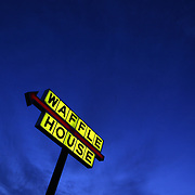 Forsyth, Ga. Waffle House restaurant at sunset Saturday January 19, 2013. Available in raw file.Jose More Photography