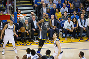 Golden State Warriors forward Kevin Durant (35) watches his jump shot sink in the basket against the Dallas Mavericks at Oracle Arena in Oakland, California, on February 8, 2018. (Stan Olszewski/Special to S.F. Examiner)