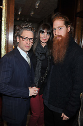 Left to right, DEXTER FLETCHER, LAUREN GURVICH and DUFFY at a reception hosted by Ralph Lauren Double RL and Dexter Fletcher before a private screening of Wild Bill benefitting FilmAid held at RRL 16 Mount Street, London on 26th March 2012.