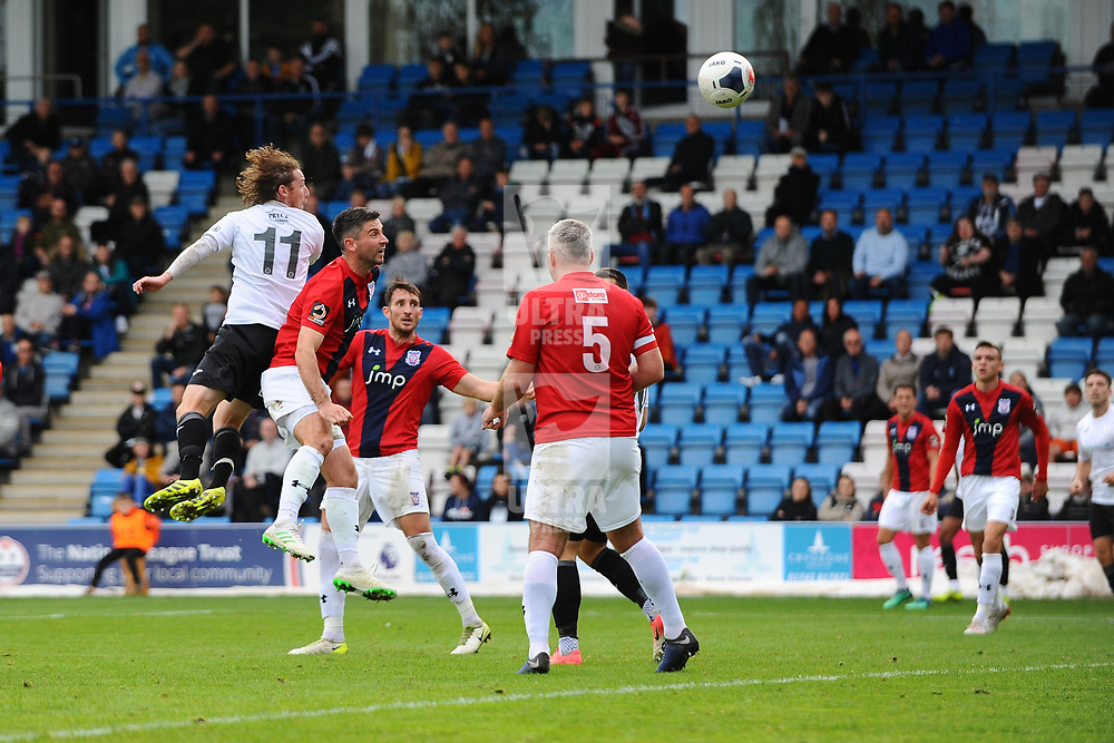 TELFORD COPYRIGHT MIKE SHERIDAN GOAL. James McQuilkin of Telford scores to make it 1-1 during the National League North fixture between AFC Telford United and York City at the New Bucks Head on Saturday, October 12, 2019.<br /> <br /> Picture credit: Mike Sheridan<br /> <br /> MS201920-025