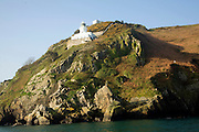 Lighthouse above cliffs Point Robert, Island of Sark, Channel Islands, Great Britain