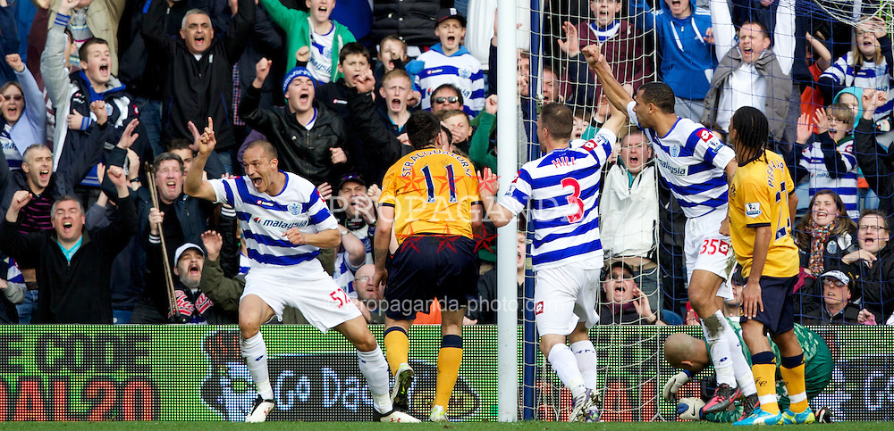 LONDON, ENGLAND - Saturday, March 3, 2012: Queens Park Rangers' Bobby Zamora celebrates scoring the equalising 1-1 goal against Everton during the Premiership match at Loftus Road. (Pic by Vegard Grott/Propaganda)