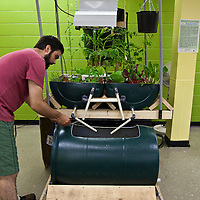 FoodShare's aquaponics system which grows fish and plants together. With the help of bactieria, fish waste is transformed into a great source of nutrients for the plants and the plants in return act as great water filters.