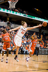 Virginia forward Kelly Hartig (42) lunges for a rebound against Clemson.  The Virginia Cavaliers women's basketball team defeated the Clemson Tigers 83-71 at the John Paul Jones Arena in Charlottesville, VA on February 21, 2008.