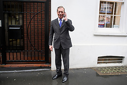 © Licensed to London News Pictures. 09/04/2019. London, UK. Former UKIP leader NIGEL FARAGE MEP is seen in Westminster on the day that British Prime Minister Theresa May has flown to France and Germany to meet with Emmanuel Macron and Angela Merkel . Photo credit: Ben Cawthra/LNP