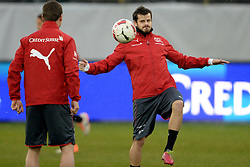 04.03.2014, AFG Arena, St. Gallen, SUI, Training der Schweizer Nationalmannschaft, vor dem Testspiel gegen Kroatien, im Bild Tranquillo Barnetta (SUI) // during a practice session of swiss national football team prior to the international frindley against Croatia at the AFG Arena in St. Gallen, Switzerland on 2014/03/04. EXPA Pictures © 2014, PhotoCredit: EXPA/ Freshfocus/ Andy Mueller<br /> <br /> *****ATTENTION - for AUT, SLO, CRO, SRB, BIH, MAZ only*****