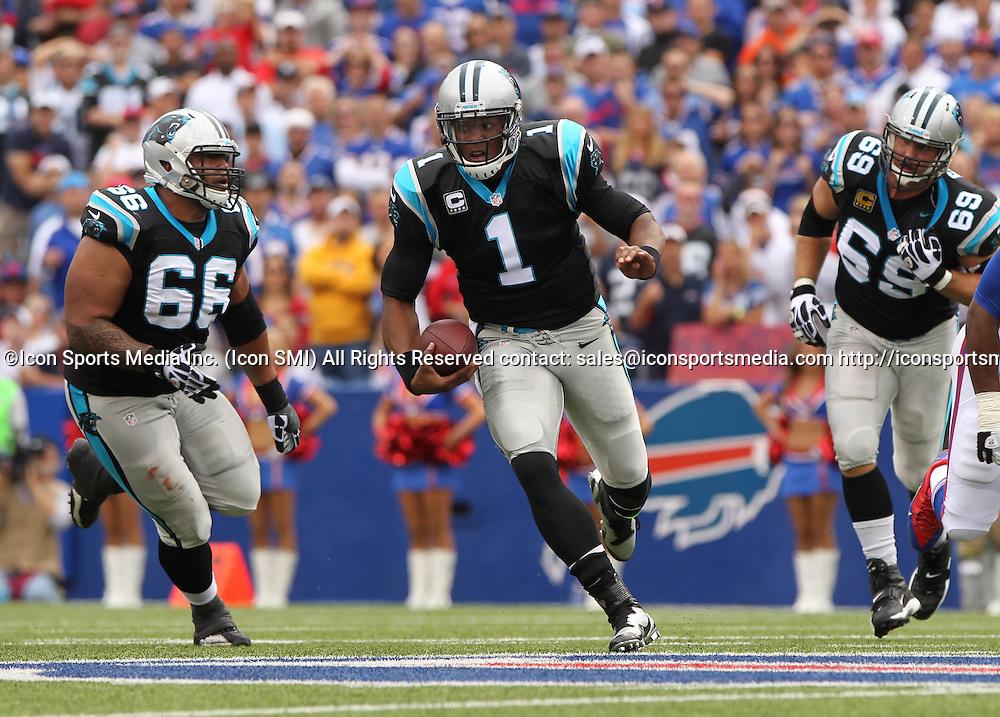 15 September 2013: Carolina Panthers quarterback Cam Newton (1) during a NFL game between the Carolina Panthers and Buffalo Bills at Ralph Wilson Stadium in Orchard Park, NY.