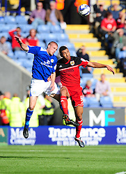 Bristol City's Lewin Nyatanga battles for the high ball with Leicester City's Jamie Vardy - Photo mandatory by-line: Joe Meredith/JMP  - Tel: Mobile:07966 386802 06/10/2012 - Leicester City v Bristol City - SPORT - FOOTBALL - Championship -  Leicester  - King Power Stadium