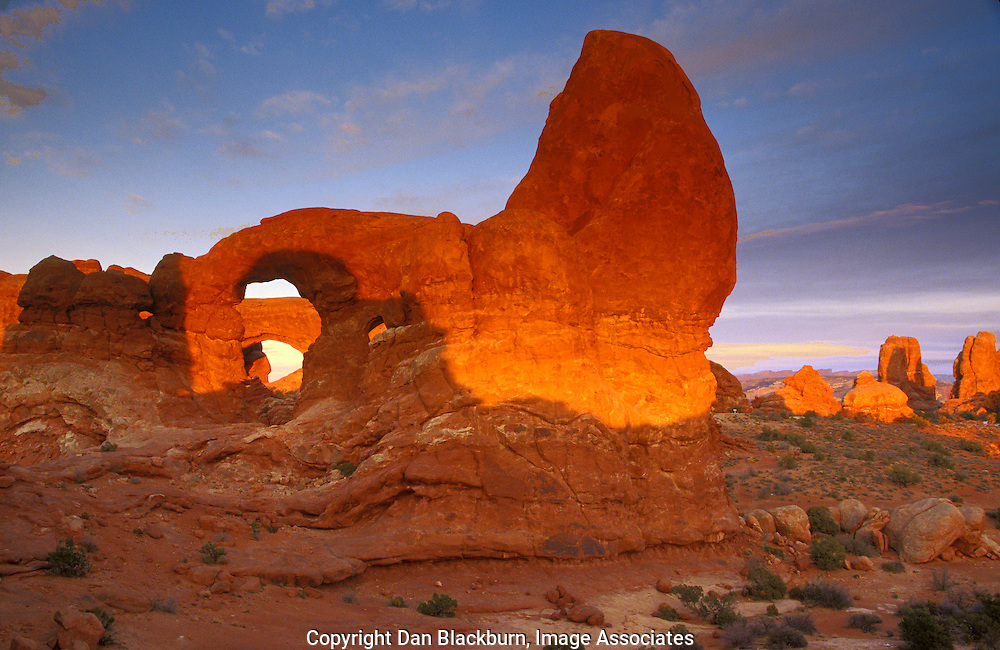 Sunset Lights Up Turret Arch and South Window in Arches National Park Utah
