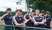 Dundee players including new boys Scott Allan watch their team-mates go throught their paces during pre-season testing at University Grounds, Riverside, Dundee, Photo: David Young<br /> <br />  - &copy; David Young - www.davidyoungphoto.co.uk - email: davidyoungphoto@gmail.com