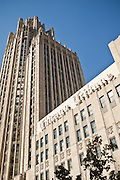 Chicago Tribune building along Michigan Ave in Chicago, IL, USA.