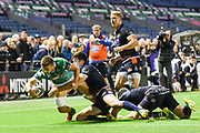 Luca Sperandio breaks free to score try during the Guinness Pro 14 2018_19 match between Edinburgh Rugby and Benetton Treviso at Murrayfield Stadium, Edinburgh, Scotland on 28 September 2018.