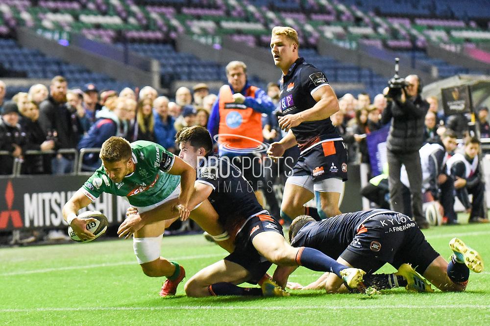 Luca Sperandio breaks free to score try during the Guinness Pro 14 2018_19 match between Edinburgh Rugby and Benetton Treviso at Murrayfield Stadium, Edinburgh, Scotland on 28 September 2018.