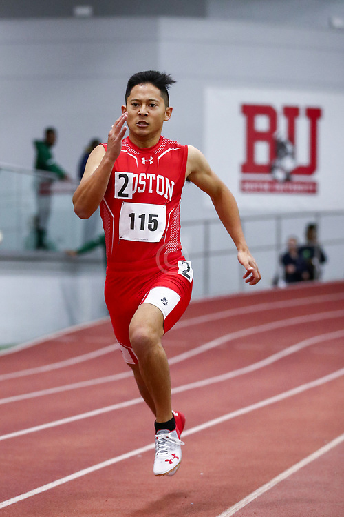 mens 200 meters, BU, Riley Sasaki<br /> Boston University Scarlet and White<br /> Indoor Track & Field, Bruce LeHane