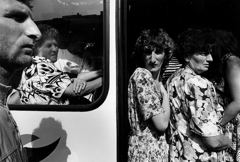 People on the bus in West Mostar.