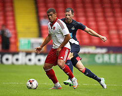Sheffield United's Che Adams is closed down by Newcastle United's Mike Williamson - Mandatory by-line: Robbie Stephenson/JMP - 26/07/2015 - SPORT - FOOTBALL - Sheffield,England - Bramall Lane - Sheffield United v Newcastle United - Pre-Season Friendly
