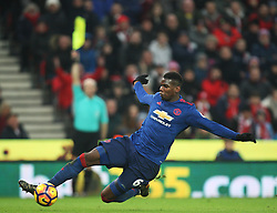 Paul Pogba of Manchester United slides to have a shot on goal but it is awarded as offside - Mandatory by-line: Jack Phillips/JMP - 21/01/2017 - FOOTBALL - Bet365 Stadium - Stoke-on-Trent, England - Stoke City v Manchester United - Premier League