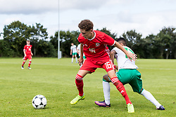 WREXHAM, WALES - Thursday, August 15, 2019: Wales' Jonah Williams and Northern Ireland's Ethan Sousa during the UEFA Under-15's Development Tournament match between Wales and Northern Ireland at Colliers Park. (Pic by Paul Greenwood/Propaganda)