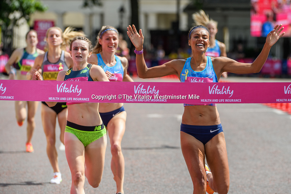 Adelle Tracey crosses the line to win the Senior Women's British One Mile Road Race at The Vitality Westminster Mile, Sunday 28th May 2017.<br /> <br /> Photo: Thomas Lovelock<br /> <br /> For further information: media@londonmarathonevents.co.uk
