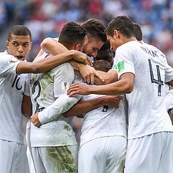 Team of France celebrate during 2018 FIFA World Cup Quarter Final match  between France and Uruguay at Nizhniy Novgorod Stadium on July 6, 2018 in Nizhniy Novgorod, Russia. (Photo by Anthony Dibon/Icon Sport)