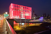 Linz, Cultural Capital of Europe 2009. Ars Electronica Center by Treusch architecture/Vienna. The transparent facade is lit by 40.000 computer-controlled LEDs in varying colors and patterns.