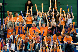 Fans of ACH at final match of Slovenian National Volleyball Championships between ACH Volley Bled and Salonit Anhovo, on April 24, 2010, in Radovljica, Slovenia. ACH Volley defeated Salonit 3rd time in 3 Rounds and became Slovenian National Champion.  (Photo by Vid Ponikvar / Sportida)