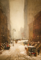 National Gallery, Washington DC. Painting of a winter street scene.
