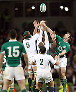 Photo © SPORTZPICS / SECONDS LEFT IMAGES 2010/Colm O'Neill  - Ireland's Tommy Bowe (R) competes for a high ball against South African players - Ireland v South Africa - Guinness Series 2010 - Aviva Stadium - Dublin - Ireland - 06/11/10 - All rights reserved