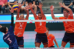 09-08-2019 NED: FIVB Tokyo Volleyball Qualification 2019 / Netherlands, - Korea, Rotterdam<br /> First match pool B in hall Ahoy between Netherlands - Korea for one Olympic ticket / Gyeong-Bok Na #3 of Korea, Nimir Abdelaziz #14 of Netherlands, Fabian Plak #8 of Netherlands, Thijs Ter Horst #4 of Netherlands