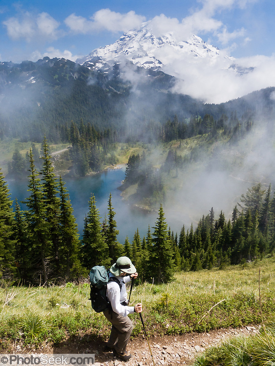 Hike to a view of Eunice Lake and Mount Rainier (14,411 feet) on the Tolmie Peak (5939 feet) trail in Mount Rainier National Park, Washington, USA.