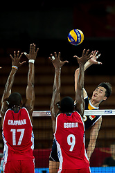 14.09.2014, Centennial Hall, Breslau, POL, FIVB WM, Kuba vs China, 2. Runde, Gruppe F, im Bild Felix Emilio Chapman Pineiro cuba #17 Livan Osoria Rodriguez cuba #9 Daoshuai Ji china #18 // Felix Emilio Chapman Pineiro cuba #17 Livan Osoria Rodriguez cuba #9 Daoshuai Ji china #18 during the FIVB Volleyball Men's World Championships 2nd Round Pool F Match beween Cuba and China at the Centennial Hall in Breslau, Poland on 2014/09/14. EXPA Pictures © 2014, PhotoCredit: EXPA/ Newspix/ Sebastian Borowski<br /> <br /> *****ATTENTION - for AUT, SLO, CRO, SRB, BIH, MAZ, TUR, SUI, SWE only*****