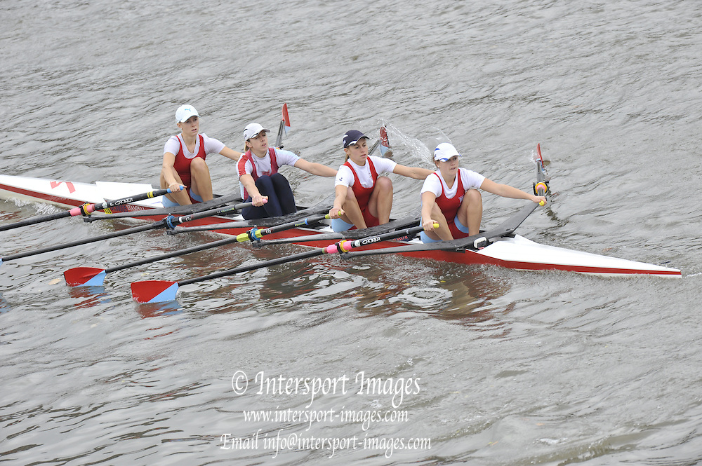London, Great Britain,   Start No 108. 110 WALLINGFORD RC II. Women's Elite Lwt 4x-. approach the start at Mortlake, Photo from Chiswick Bridge.  Fullers,  Fours Head of the River Race, Championship Course, Mortlake to Putney, River Thames. Saturday   05/11/2011   [Mandatory Credit. Peter Spurrier/Intersport Images]