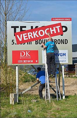 Nederland, Arnhem, 21-4-2015Bouwkavel, bouwgrond te koop bij Velp. Verkoop via een makelaarskantoor.  De bouwgrond is gelegen op een bedrijventerrein, industrieterrein en is bedoeld voor een kantoor of bedrijfspand.Foto: Flip Franssen/Hollandse Hoogte