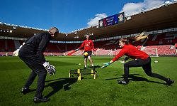 SOUTHAMPTON, ENGLAND - Thursday, April 5, 2018: Wales' goalkeeper coach Jon Horton with goalkeepers Laura O'Sullivan and Claire Skinner during a training session at St. Mary's Stadium ahead of the FIFA Women's World Cup 2019 Qualifying Round Group 1 match against England. (Pic by David Rawcliffe/Propaganda)