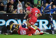 Waisake Naholo scores for the Highlanders. Investec Super Rugby - Highlanders v Reds 27 February 2015, Forsyth Barr Stadium, Dunedin, New Zealand. Photo: New Zealand. Photo: Richard Hood/www.photosport.co.nz