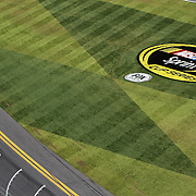 Danica Patrick is seen in this general overview of Daytona International Speedway from the starting line tower on Thursday, February 21, 2013 in Daytona Beach, Florida.  (AP Photo/Alex Menendez)