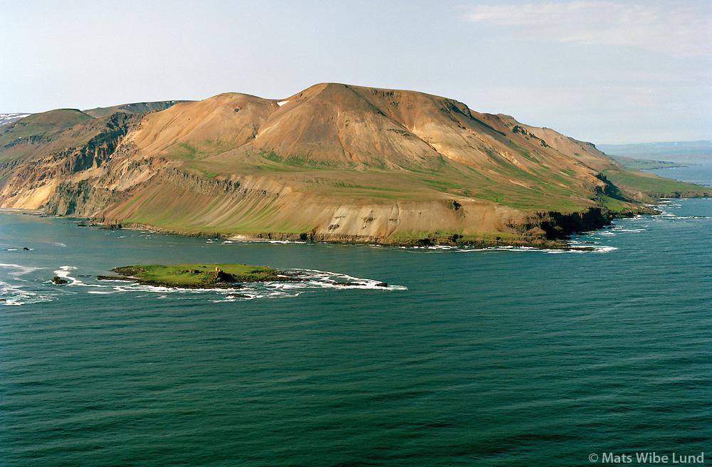 Kollumúli, Bjarnarey fremst, séð til vesturs, Vopnafjarðarhreppur./ Kollumuli, Bjarnarey island in foreground, viewing west. Vopnafjardarhreppur.