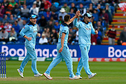 Wicket - Mark Wood of England celebrates taking the wicket of Mohammad Mahmudullah Riyad of Bangladesh during the ICC Cricket World Cup 2019 match between England and Bangladesh the Cardiff Wales Stadium at Sophia Gardens, Cardiff, Wales on 8 June 2019.