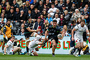 Ospreys centre Kieron Fonotia on the break during the Guinness Pro 12 2017 Round 21 match between Ospreys and Ulster at the Liberty Stadium, Swansea, Wales on 29 April 2017. Photo by Andrew Lewis.