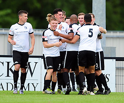 CORBY CELEBRATE THEIR FIRST GOAL IN THE OPENING MINUTES OF THE GAME BY SAM MULREADY, Corby Town v Romulus Steel Park, Corby Evo-Stik Northern Premier Division One South Saturday 12th August 2017