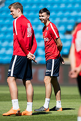 June 5, 2018 - Oslo, NORWAY - 180605 Alexander Sørloth and Ole Kristian Selnæs of Norway during a training session on June 5, 2018 in Oslo..Photo: Jon Olav Nesvold / BILDBYRÃ…N / kod JE / 160267 (Credit Image: © Jon Olav Nesvold/Bildbyran via ZUMA Press)