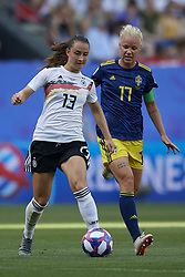 June 29, 2019 - Rennes, France - Sara Daebritz (FC Bayern Munchen) of Germany and Caroline Seger (FC Rosengard) of Sweden competes for the ball during the 2019 FIFA Women's World Cup France Quarter Final match between Germany and Sweden at Roazhon Park on June 29, 2019 in Rennes, France. (Credit Image: © Jose Breton/NurPhoto via ZUMA Press)