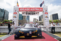 ADELAIDE, AUSTRALIA - OCTOBER 13:  Team members of STC-2 Nikola vehicle 'Nikola' from Thailand celebrate at the finish line on Day 6 of the 2017 Bridgestone World Solar Challenge at Victoria Square on October 13, 2017 in Adelaide, Australia. Teams from across the globe are competing in the 2017 World Solar Challenge - a 3000 km solar-powered vehicle race between Darwin and Adelaide. The race begins on October 8th with the first car expected to cross the finish line on October 11th.  (Photo by Daniel Kalisz/Getty Images for SATC) (Credit Image: © 2017 Bridgestone World Solar C/Xinhua via ZUMA Wire)