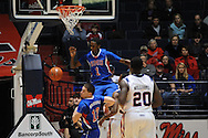 """Ole Miss vs. SMU's Ryan Manuel (1) dunks at the C.M. """"Tad"""" Smith Coliseum in Oxford, Miss. on Tuesday, January 3, 2012. Ole Miss won 50-48."""