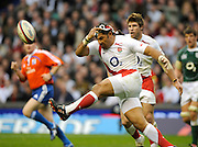 Twickenham. Great Britain, Lesley VAINIKOLO, kicks the ball clear during the second half of the Six Nations Rugby, England vs Ireland match, played at the RFU Stadium, 15.03.2008  [Mandatory Credit. Peter Spurrier/Intersport Images]