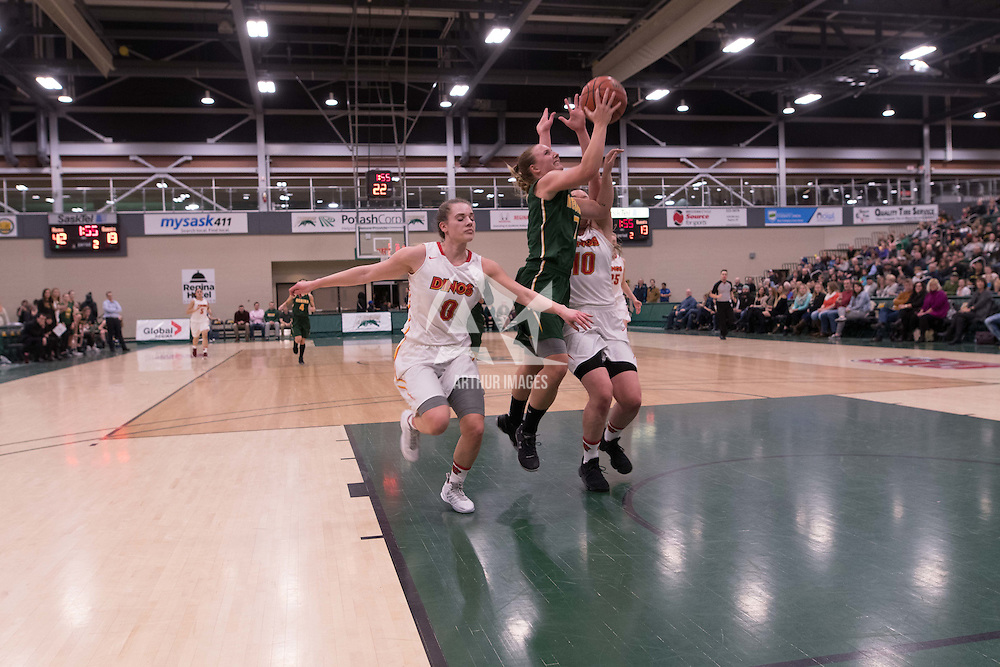 4th year guard Sara Hubenig (7) of the Regina Cougars in action during the home game on January  28 at Centre for Kinesiology, Health and Sport. Credit: Arthur Ward/Arthur Images