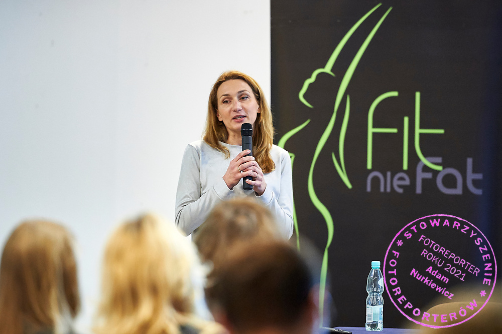 """Warsaw, Poland - 2017 April 07: Magdalena Rodak - Debowska blogger """"Fitness PR"""" speaks during The Day of Health - science conference in the National Library on April 07, 2017 in Warsaw, Poland.<br /> <br /> Mandatory credit:<br /> Photo by © © Adam Nurkiewicz / Mediasport / Mediasport<br /> <br /> Picture also available in RAW (NEF) or TIFF format on special request.<br /> <br /> Any editorial, commercial or promotional use requires written permission from the author of image.<br /> <br /> Adam Nurkiewicz declares that he has no rights to the image of people at the photographs of his authorship."""